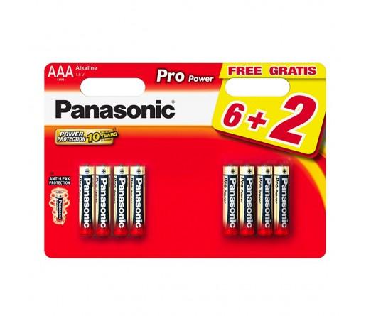 PILHA PANASONIC LR03 PRO POWER BL6+2